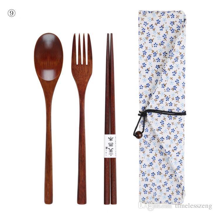 / SET Juego de cubiertos de madera ambientales portátil Cubiertos japonesas para los regalos de Tenedor Cuchara Palillo Vajilla de vajilla para el estudiante