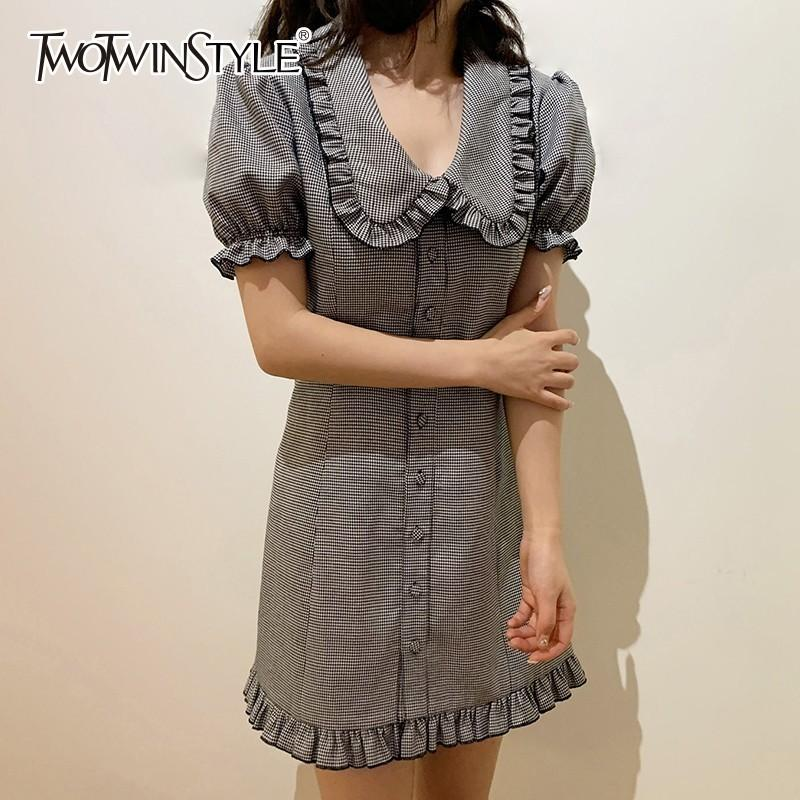 Twotwinstyle Plaid Dress Female Peter Pan Collar Short Sleeve