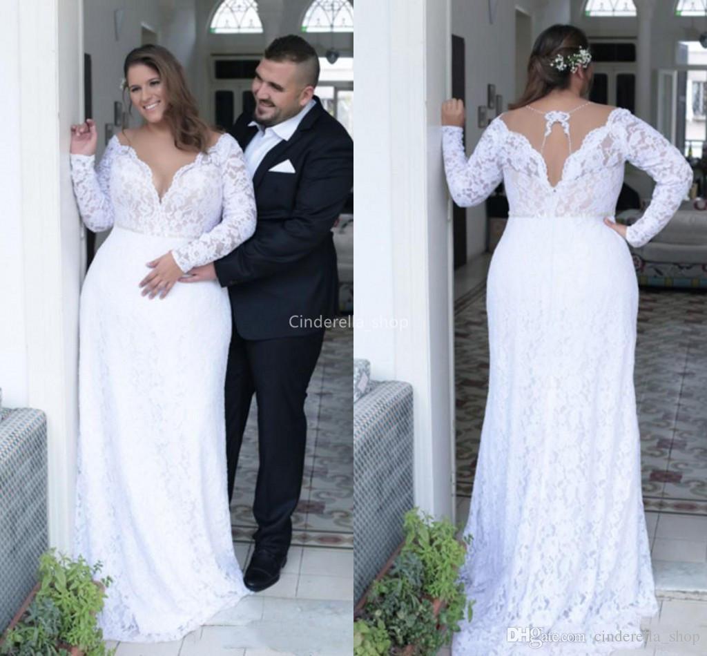 9f537b4d0a0 Bohemian Plus Size Long Sleeves Mermaid Wedding Dresses 2019 Sheer V Neck  Western Country Bridal Gowns Mariage Plus Size Robes De Mariée Plus Size  Wedding ...