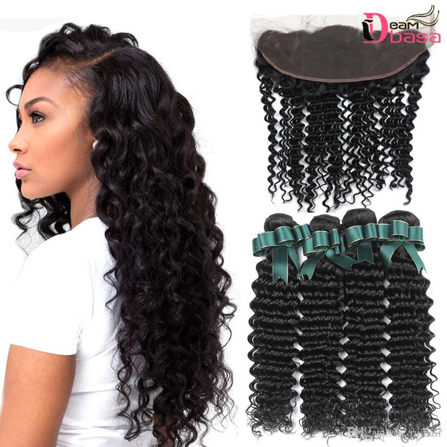 Human Hair Weaves Ilaria Hair Brazilian Virgin Hair 3 Bundles With Closure 100% Human Hair Weave Bundles With 13x4 Lace Frontal Closure Loose Wave