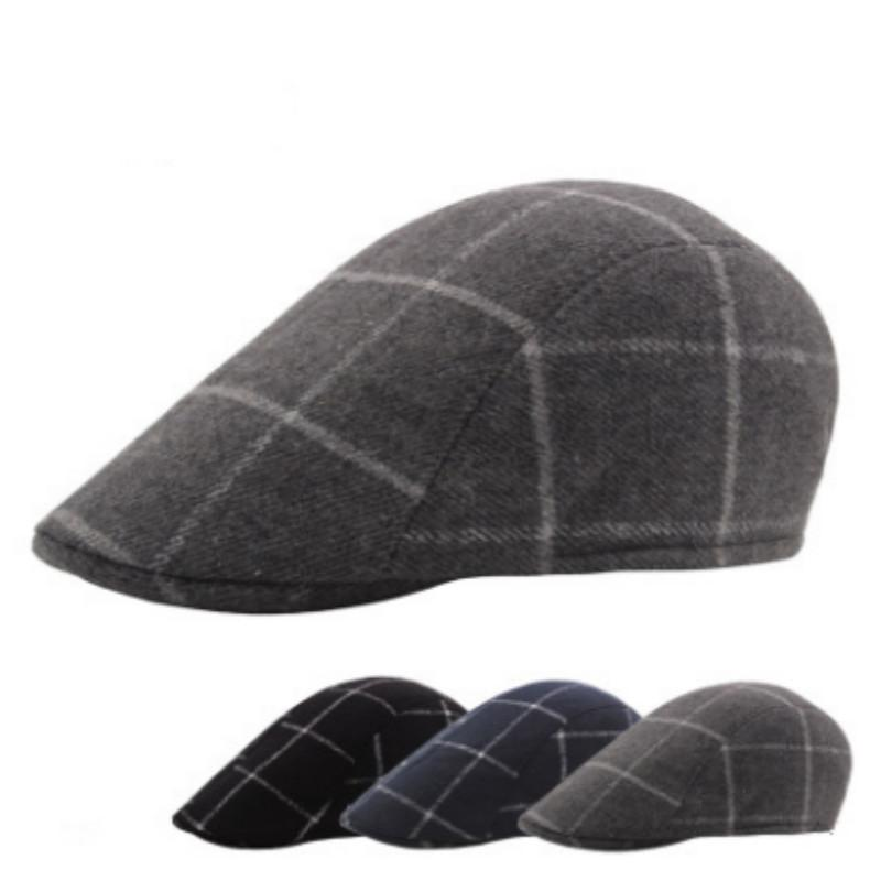 3757345c10b 2019 Vintage Plaid Wool Ivy Hat For Men Spring Autumn Male Short Visor Cap  Retro Grid Winter Beret Cap Newsboy Style Peaked Bones From Naixing