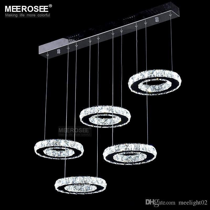 Bonne Qualité Chrome Lustre En Cristal Éclairage LED Anneau De Diamant Lampe Cercle En Acier Inoxydable Hanginglamp Luminaire Éclairage LED