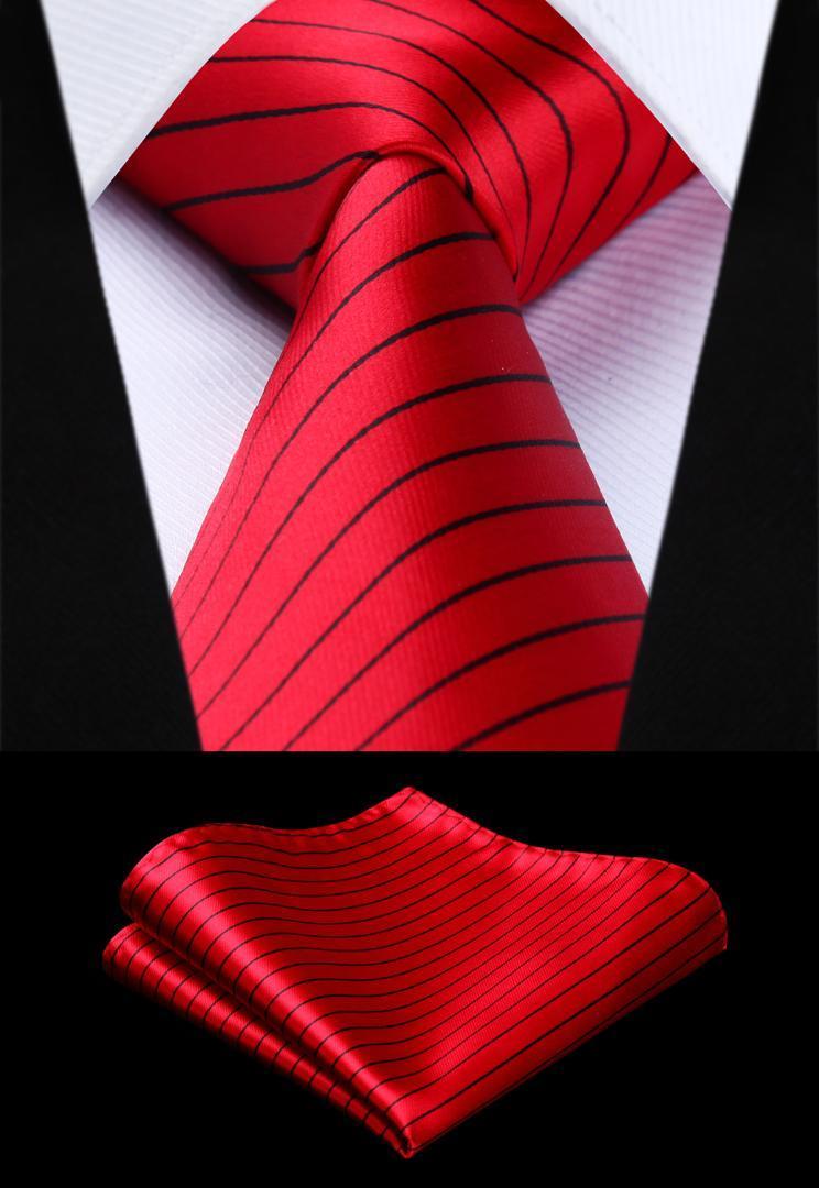 nuovo prodotto 119d0 50cf2 Fazzoletto da taschino classico da uomo con cravatta a lacci e cravatta a  righe da uomo nero cravatta nera a righe # TS614R8S