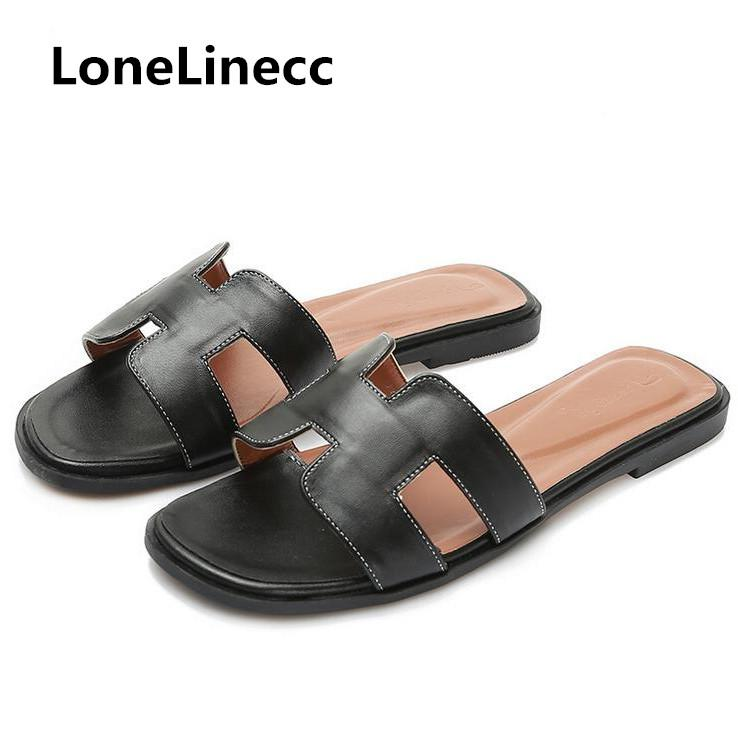 8a8f78db3a8e8 2018 Slippers Women Genuine Leather H Letter Slip On Slides Beach Shoes  Woman Flip Flops Cool Flip Flop Women Flat Shoes Bohemia Mens Slippers  Boots For ...