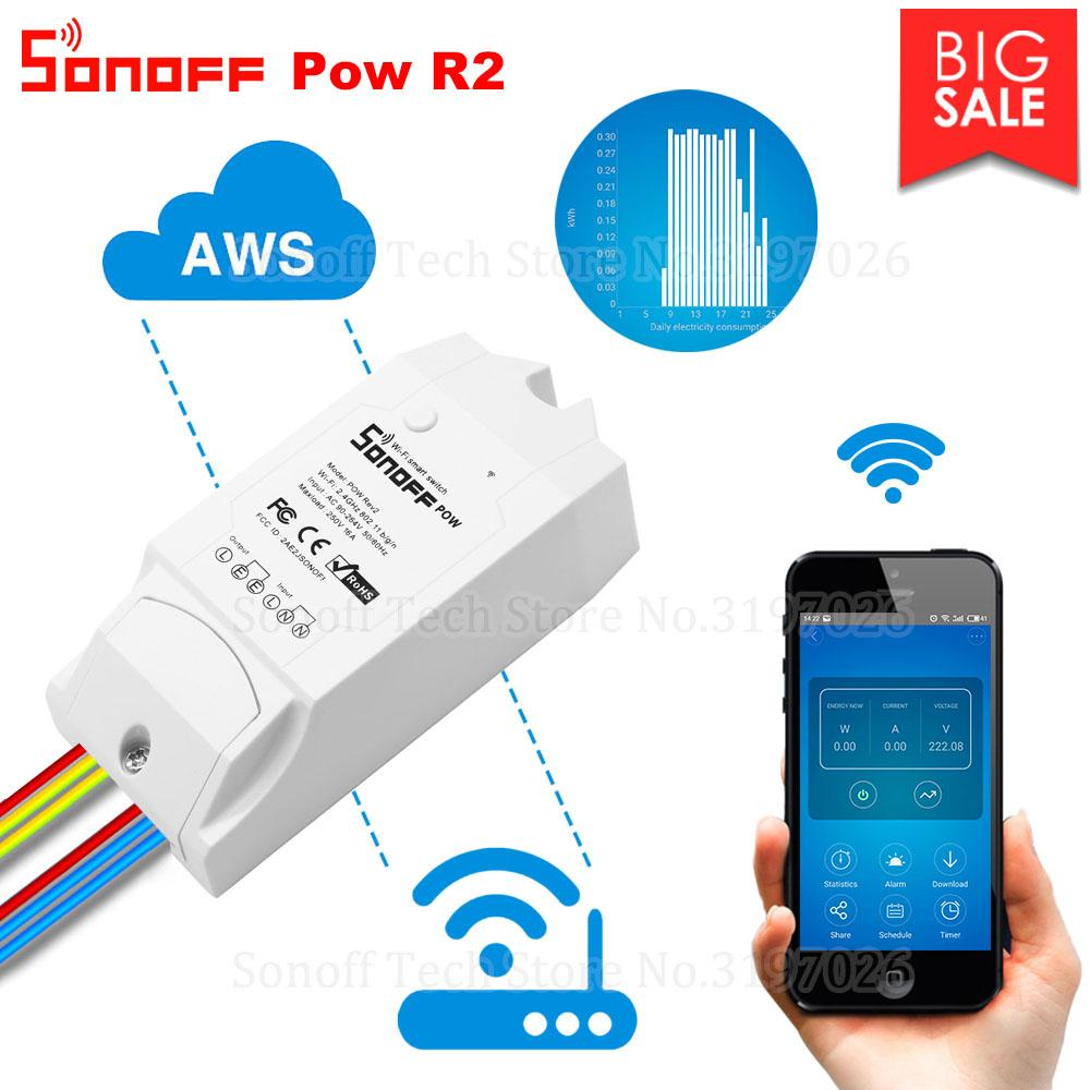 Itead Sonoff Pow R2 15A Wifi Smart Switch With Higher Accuracy Monitor  Energy Usage Smart Home Power Measuring Works With Alexa