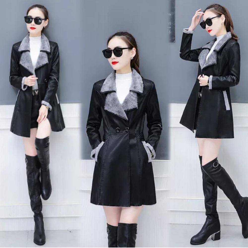 Pinkyisblack Neue Herbst Leder Jacke Frauen Warme Lange Damen Casual Zweireiher Faux Pelz Leder Mantel 2018 Weibliche Oberbekleidung Haus & Garten