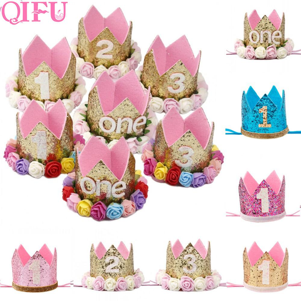 QIFU Birthday Hats Decor Cap One First Hat Princess Crown 1st 2nd 3rd Year Old Number Baby Kids Hair Accessory Boy