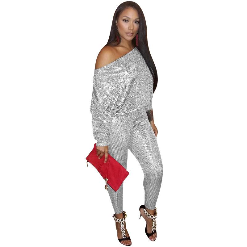 S M L XL XXL women Sexy Casual sequins Long Sleeve top Long pants two piece pants set ZYB717