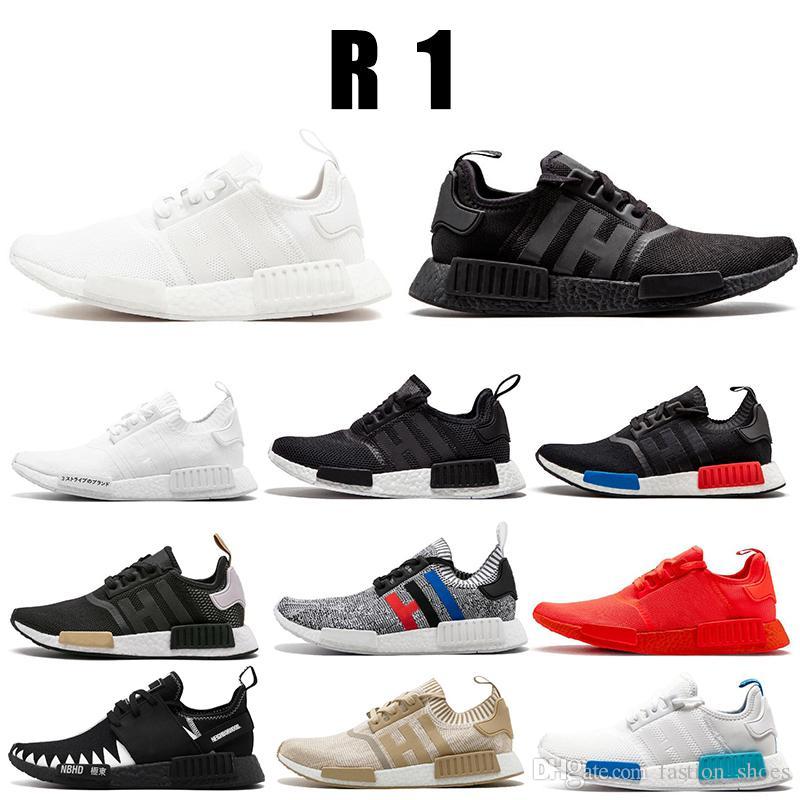 Adidas NMD R1 Roshe Run 2019 Atacado Sapatos R1 Desconto barato Japão  vermelho cinza NMD Runner R1 Primeknit PK Low sapatos das mulheres dos  homens ... a1047c66c72