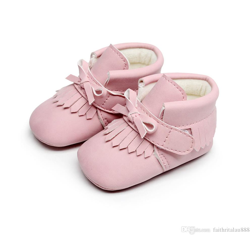 1b359d03f 2019 2019 New Toddler Baby Shoes Girl Boy Winter Warm 0 18M Infant First  Walker Pink Soft Soles Tassel Newborn Moccasins Crib Shoes For Babies From  ...