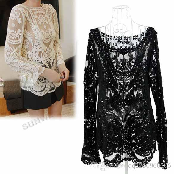4dc610d86c25cb High Quality Casual Women s Semi Sexy Sheer Sleeve Embroidery Floral ...
