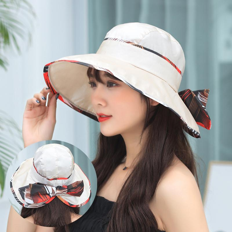 a6587b56db9 2019 Summer Sun Hats For Women Bow Beach Hat Casual Wide Brim ...