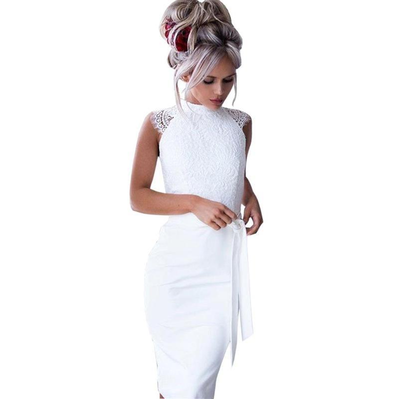 6c5dd05e90d59 Compre 2019 Vestido De Las Mujeres Elegante Verano Sólido Slim Fit Fajas Lápiz  Vestidos Fiesta De Encaje Sin Mangas Sexy Vestido Casual Robe Femme Blanco  A ...