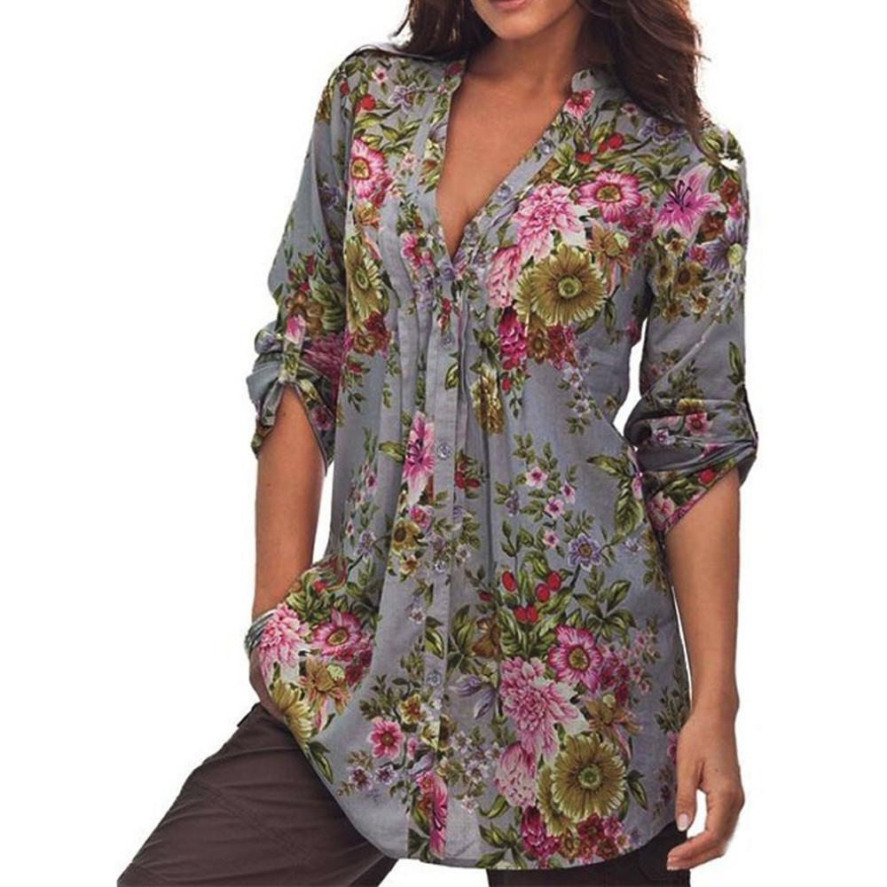 6e63c5a99716b1 2019 Plus Size Womens Vintage Floral Print V Neck Tunic Tops Autumn 2019  Women S Fashion Female Blouses Women Clothes Ropa Mujer From Jamie19