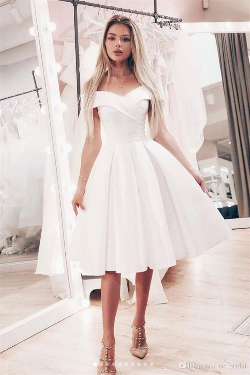 6924218dadd Elegant Satin Short Homecoming Dress 2019 Elegant White Off Shoulder Girls Graduation  Party Gown Plus Size Prom Gowns Cheap Sale Sexy Dresses Online Sexy ...