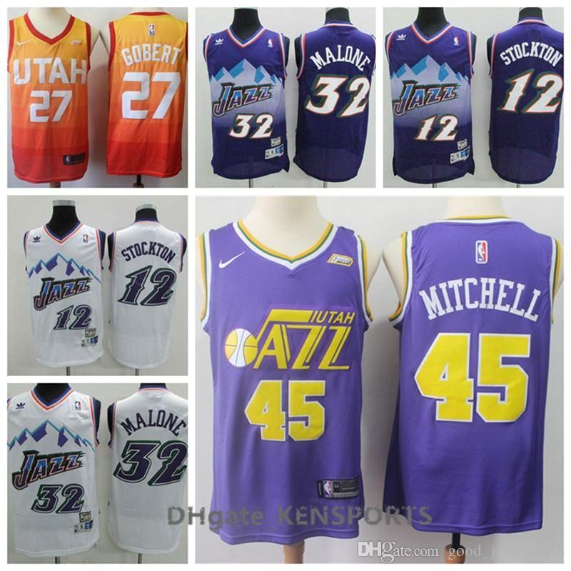 2019 Hot Sale Retro Utah Basketball Jersey 12 Stockton 32 Malone 45  Mitchell 27 Gobert Stitching Jerseys UK 2019 From Wch9 079476bc3