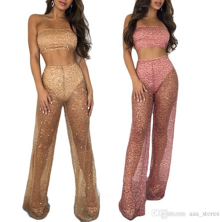 6ad90950ffa 2019 Sheer Mesh Sequins Club Two Piece Set Strapless Crop Top High Waist Wide  Leg Pants Women Sexy Outfits Party Costume Suit HOT!