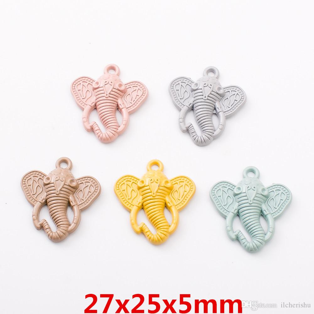100pcs DIY Alloy metal elephant charms Painting Paint color pendants Jewelry Parts Multicolor fashion Handmade Accessories Material