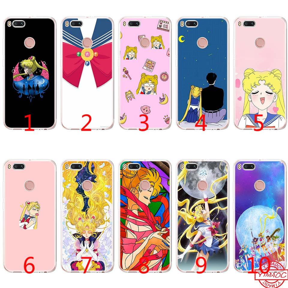 buy online 098eb 99884 Pretty Guardian Sailor Moon Soft Silicone TPU Phone Case for Xiaomi Mi A2  Lite A1 5X 6X 8 SE 6 Mix 2S Cover