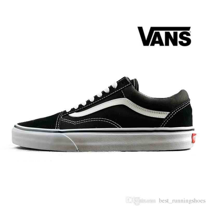 4cddeefcd4c433 2019 VANS Old Skool Black White Skateboard Classic Canvas Casual Skate Shoes  Zapatillas De Deporte Womens Mens Vans Sneakers Trainers 36 44 From ...