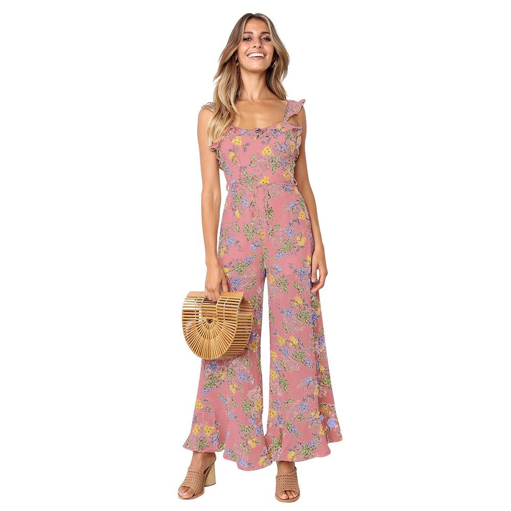 Casual Backless Spaghetti Strap Print Women Jumpsuit Full Length Ruffled Summer Jumpsuit Elegant 2019