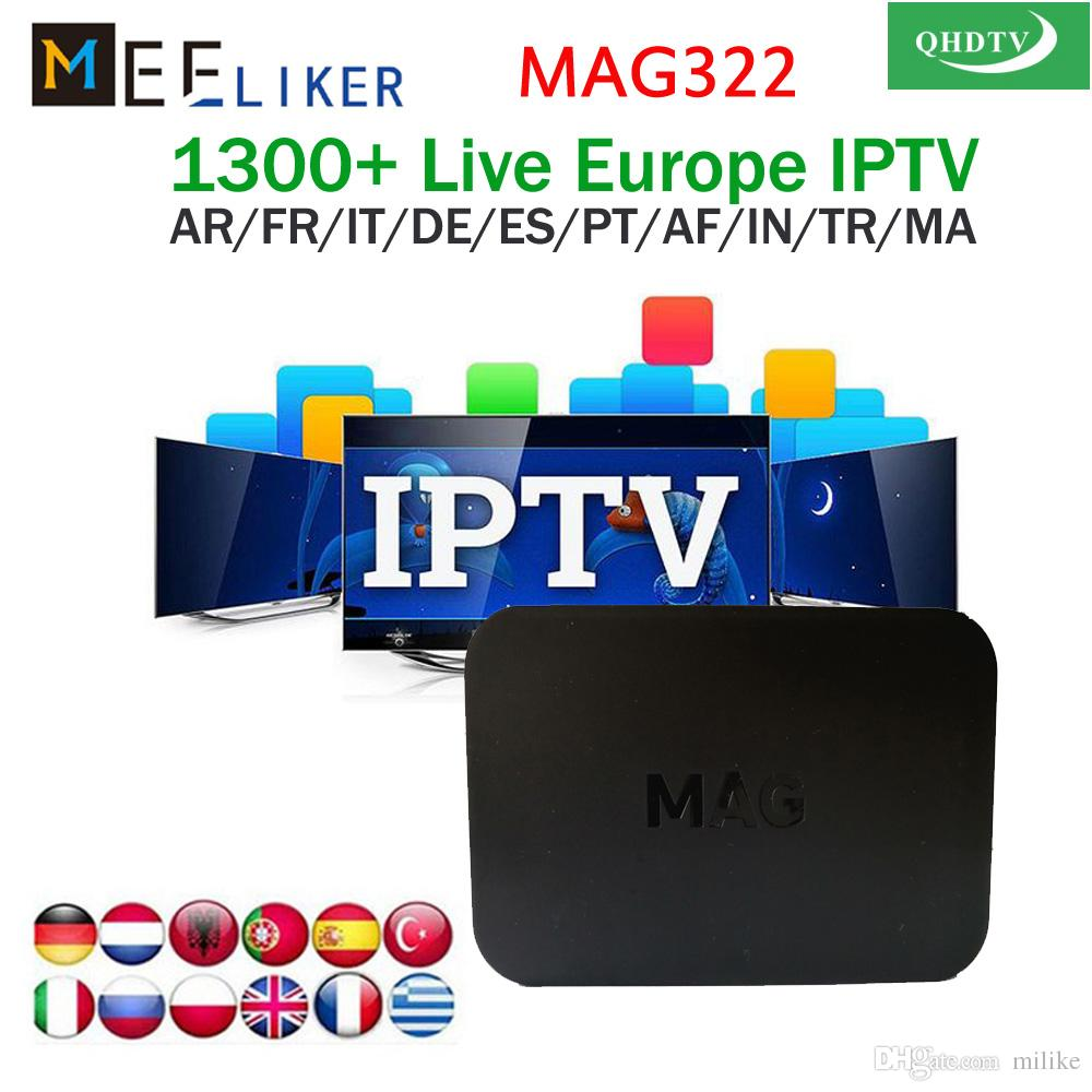 3 6 12 Months QHDTV IPTV Subscription MAG322 Streaming iptv set-top box  with arabe France English Turkish Africa US channels MAG 322 STB