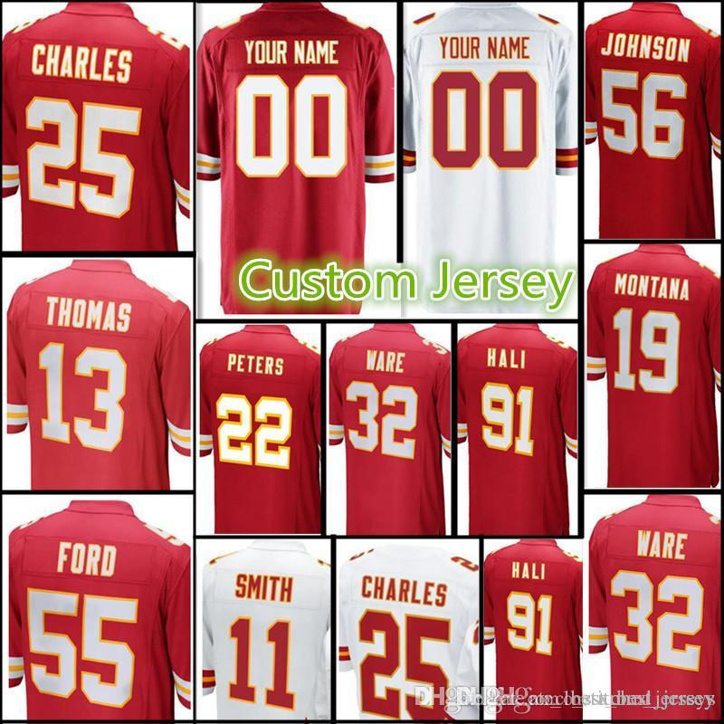2fd3e58a9a2 Chiefs Custom Jersey Men s  25 Charles 13 DeAnthony Thomas 55 Ford ...