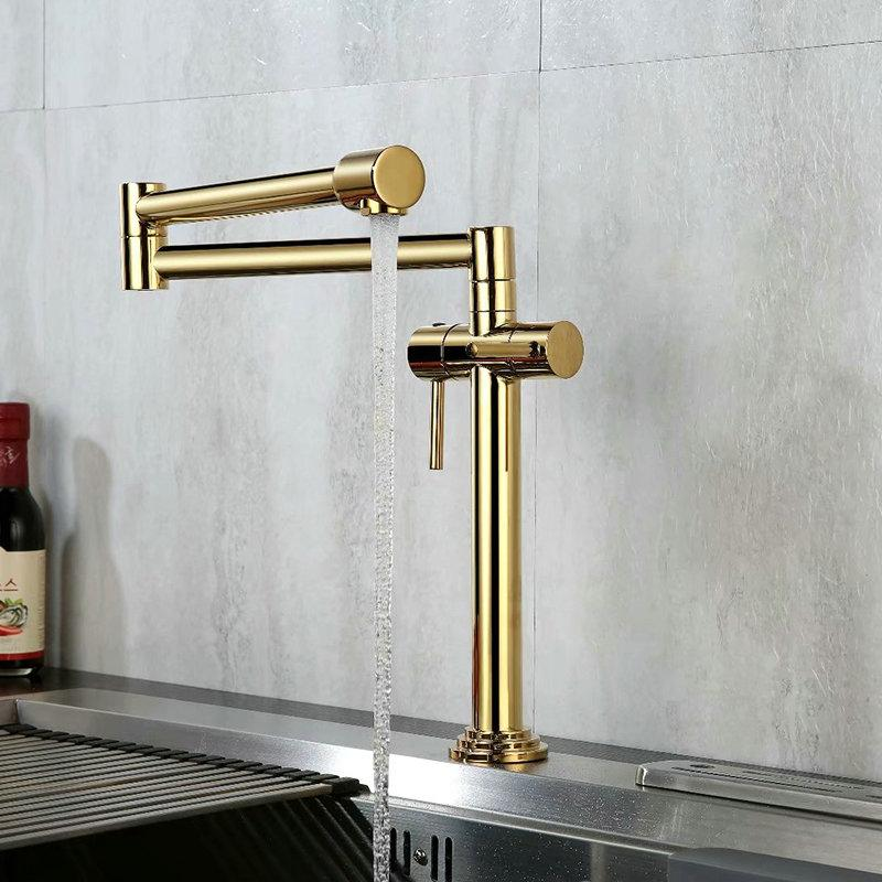 Kitchen Faucet Solid Brass Crane For Kitchen Deck Mounted Sink Mixer Foldable Nickel Brushed Gold Chrome Orb Black