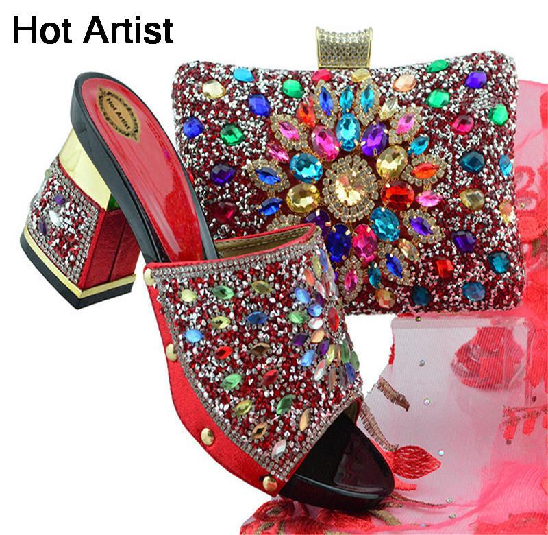 3afe7260f59 Hot Artist High Quality Elegant Pumps Red Shoes And Bags Set Nigerian Style  Slipper Shoes And Purse Set For Party Fgt004