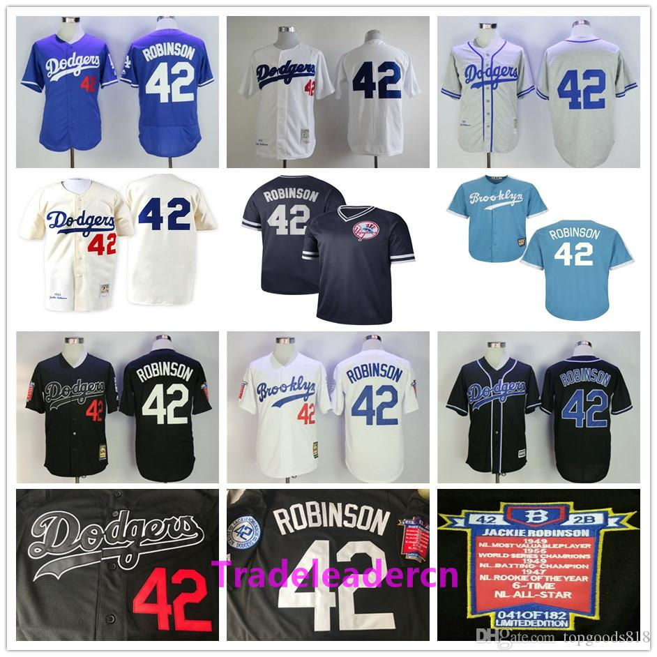 Jackie Robinson Day Jersey Los Angeles Brooklyn # 42 Dodgers Branco Preto Azul Creme Retro 1955 Camisas De Basebol Do Vintage Costurado