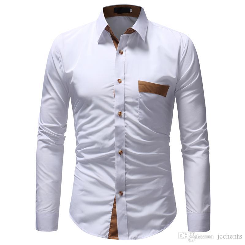 336f9a552 Compre Camisas Para Hombre Hombres Camisa Casual Bolsillo De Moda Camisa De  Manga Larga Slim Fit Hombre Camisa De Vestir De Negocios Sociales Marca  Hombres ...
