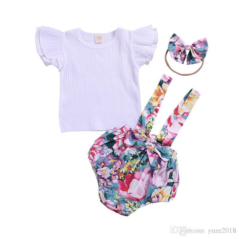 232e0ea68 2019 Baby Girl Floral Dress Newborn Girls Ruffle Solid Short Sleeve Shirt  Blouse Tops Strap Suspender Romper Bodysuit+Princess Dress+Bow Headband  From ...