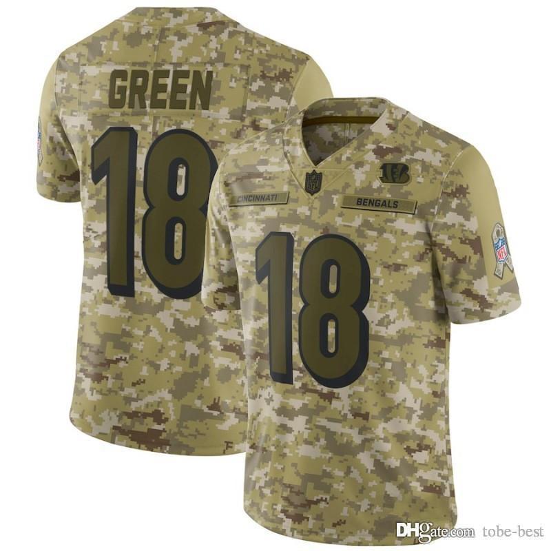 73020daa Cincinnati 18 A.J. Green Jerseys Bengals 2018 Salute to Service USA Flag  Fashion Impact Lights out Black Color Rush Drift Camo Olive Limited