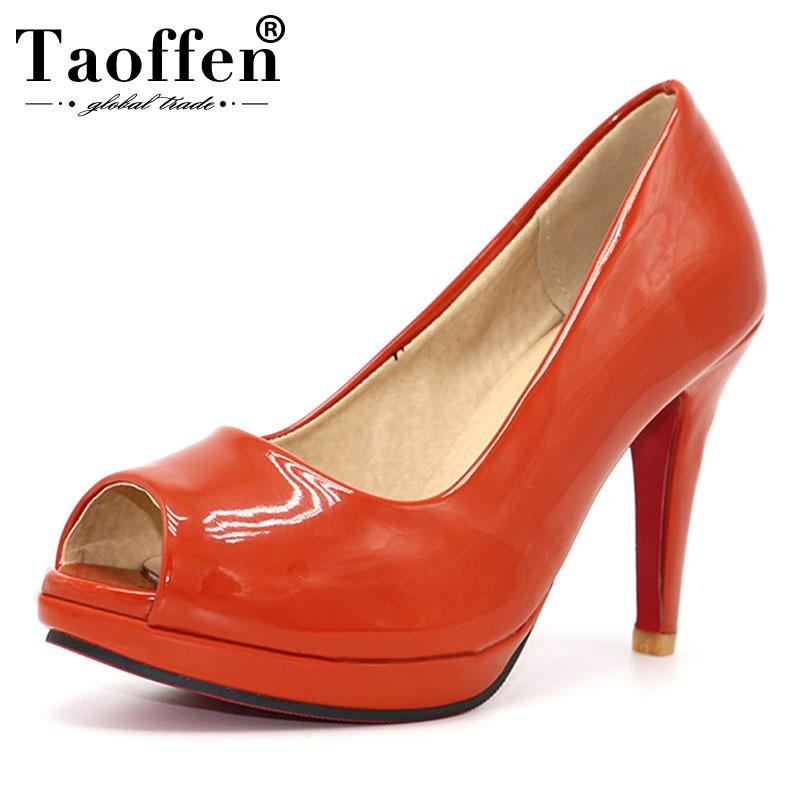 e3583c59f1e4 TAOFFEN News High Heel Peep Toe Shoes Women Dress Footwear Patent Leather Sexy  Pumps P3141 Hot Sale Size 31 43 Mens Boots Shoe From Koday