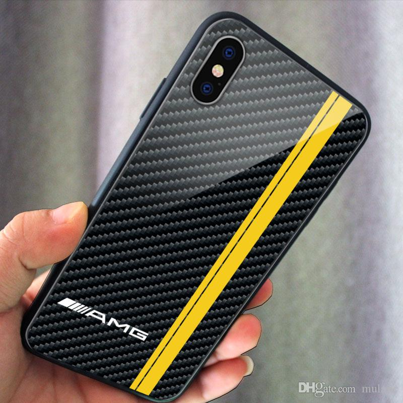 on sale 5fe44 9e399 Tempered glass iphone case Carbon Fiber BMW M power VW Golf R cover Mustang  Snake AMG for iphone X XS XR XSMAX 6plus 7plus 8plus