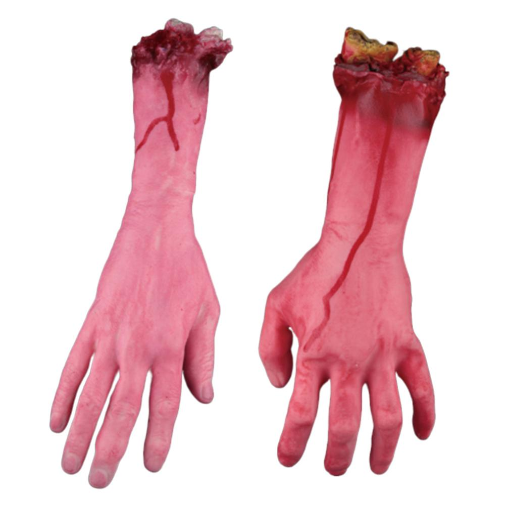 4 PCS decoración de Halloween Props de goma suave Scary Bloody Body Parts rotos Scary Halloween Horror Severed Manos Pies Establece Nuevo