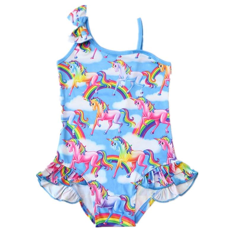 One Pieces Unicorn Swimsuit Toddler Girls Rainbow Horse Bikini Children Clothing Princess Girl Unicorn Bathing Suit D0844