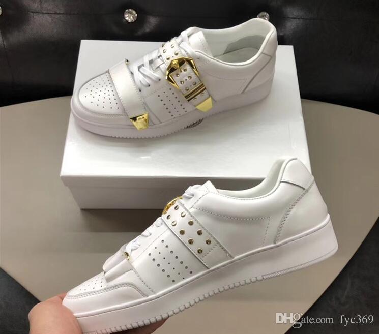 397202d2 Compre Zapatillas De Deporte Bajas De Cuero Genuino Del Hombre Zapatos  Ocasionales Hebilla De Metal Remache Zapatos De Plataforma Pisos Dedos  Redondos Con ...