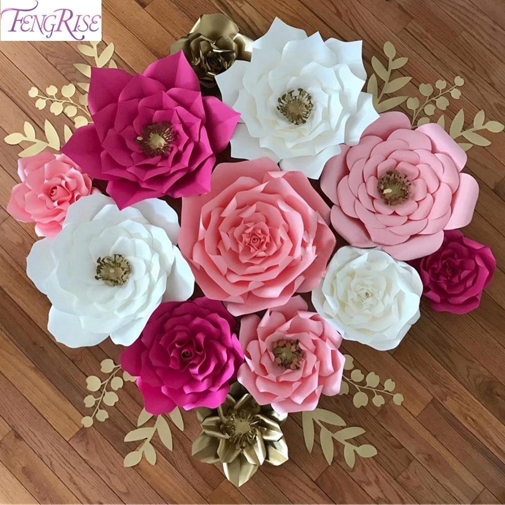 Compre Fengrise 20 Cm Diy Flores De Papel Pano De Fundo Flores