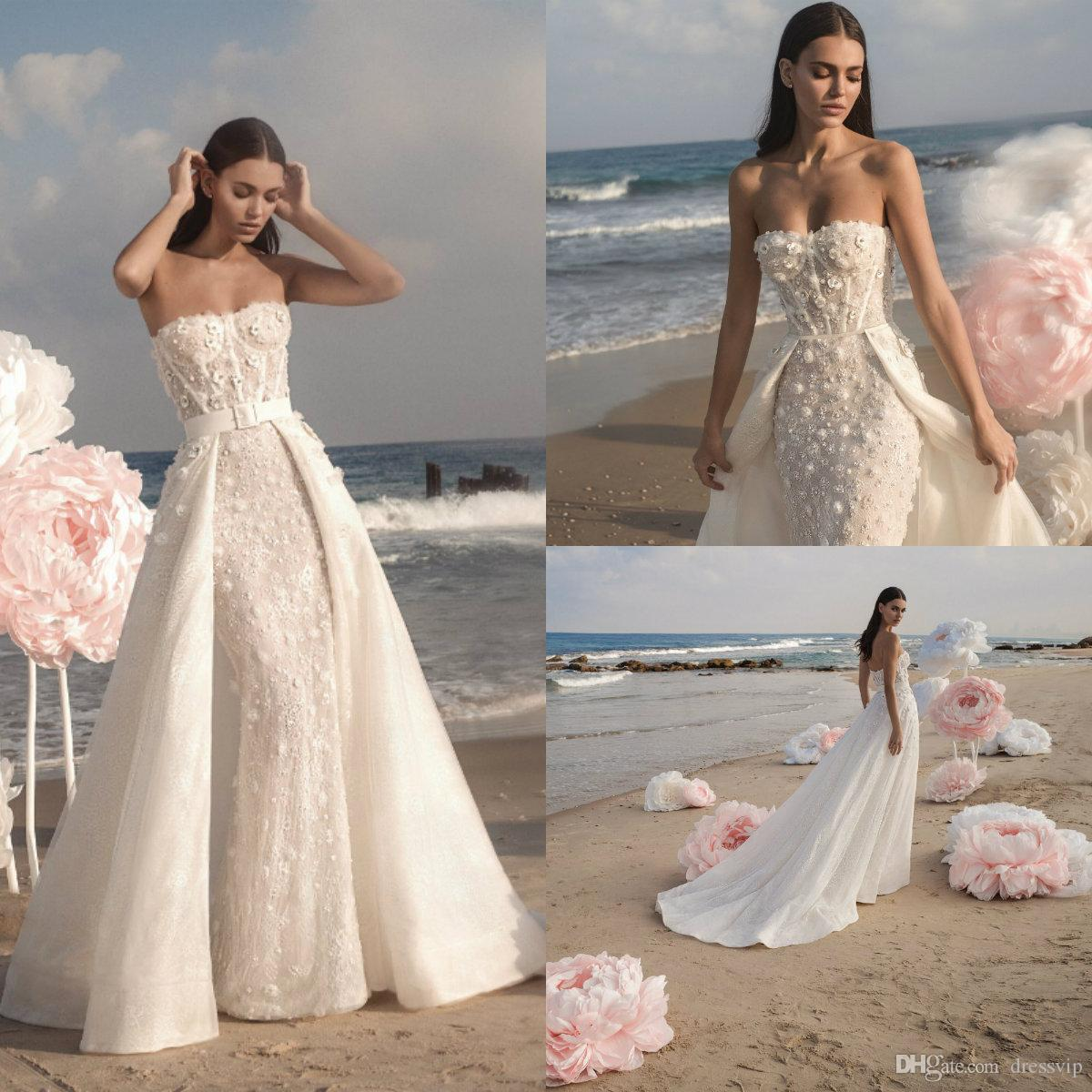 25384439d3d 2019 Berta Mermaid Wedding Dresses With Detachable Overskirts Lace 3D Floral  Applique Beads Beach Wedding Dress Vestito Da Sposa Bridal Gown Wedding  Gowns ...