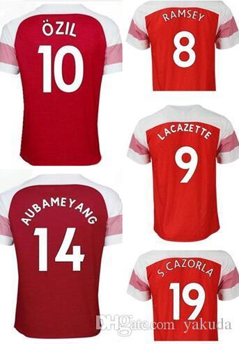 398911ca9fd 2019 Wholesale Custom Name Number Thai Quality Soccer Jersey Tops,18 19 Home  9 Lacazette 7 MKHITARYAN 14 Aubameyang 29 Xhaka 10 Özil Soccer Wear From  Yakuda ...
