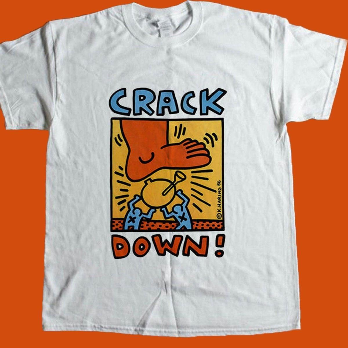 Vintage Rare KEITH HARING Crack Down T Shirt Size S 2XL Reprint Limited  Men S T Shirts Summer Style Fashion Swag Men T Shirts Top T Shirt Sites  Cool T ... 2fd1f8ec1