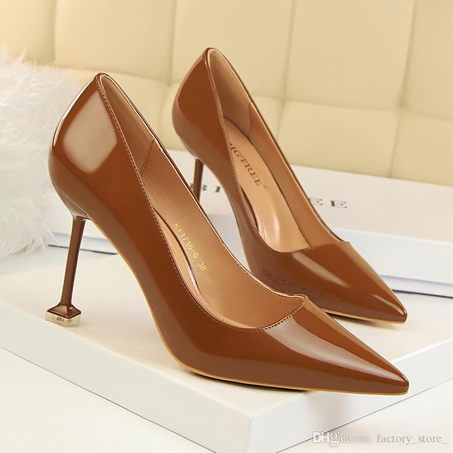 Office Shoes Women Brand Heels Patent Leather Stiletto Sexy Shoes Women  Shoe Nude Heels Valentine Shoes Black Heels Women Pumps Salto Alto  Orthopedic Shoes ... 488217fc2eff