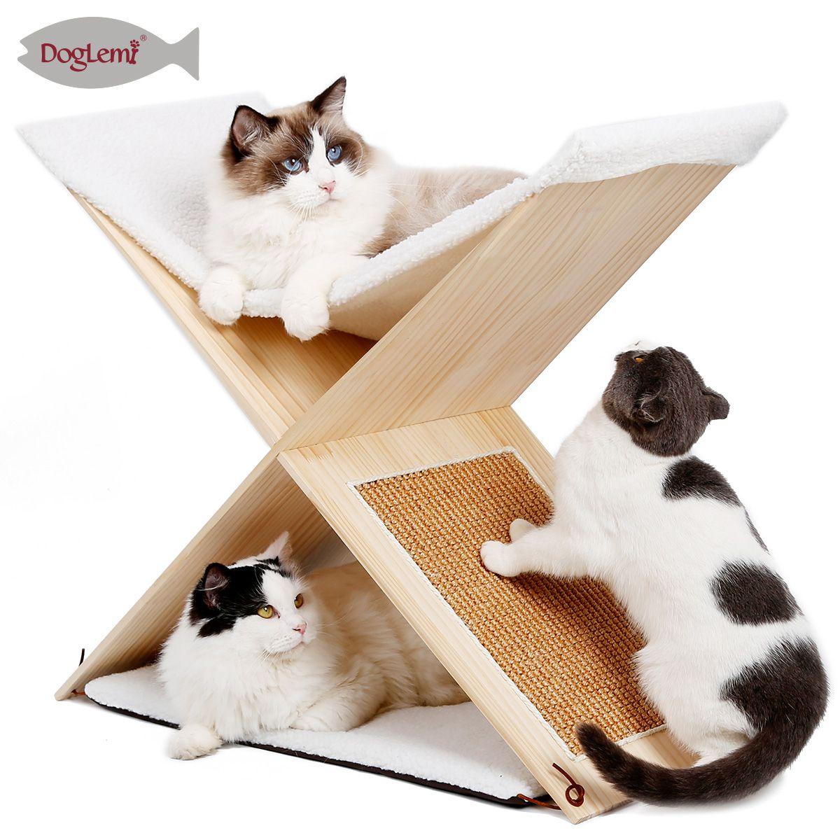 Nature Simple 2 Level Cat Furniture Cat Scratching Tree Solid Wooden Cat Scratcher Post