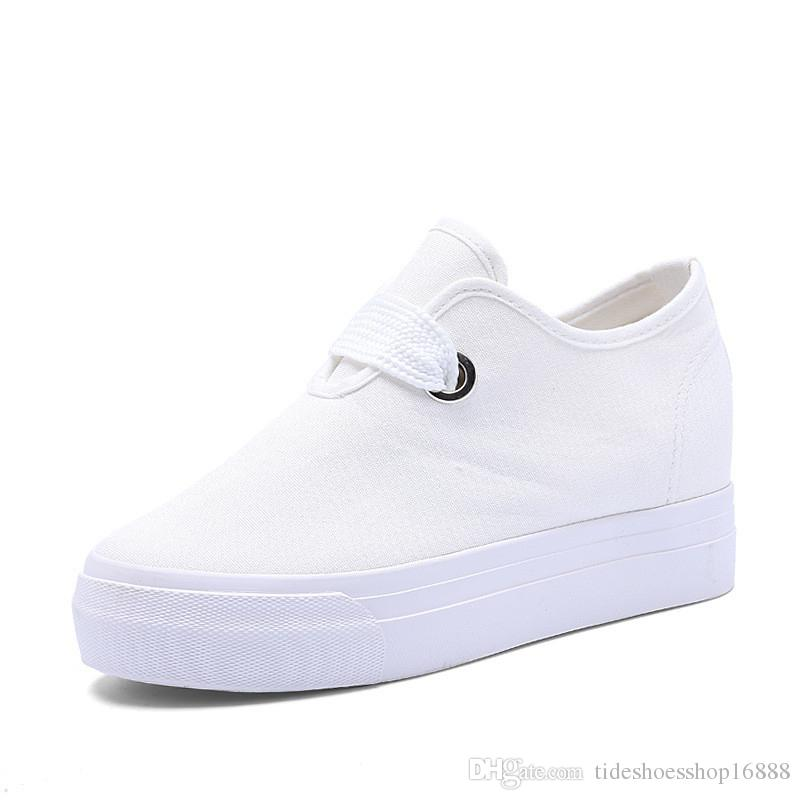 75d23ac73f9 Hidden 6CM High Heels Casual Canvas Shoes Platform Wedges Breathable White  Womans Trainers Ladies Wedge Heel Sneakers Elevator Shoes 2019 Boat Shoes  For Men ...