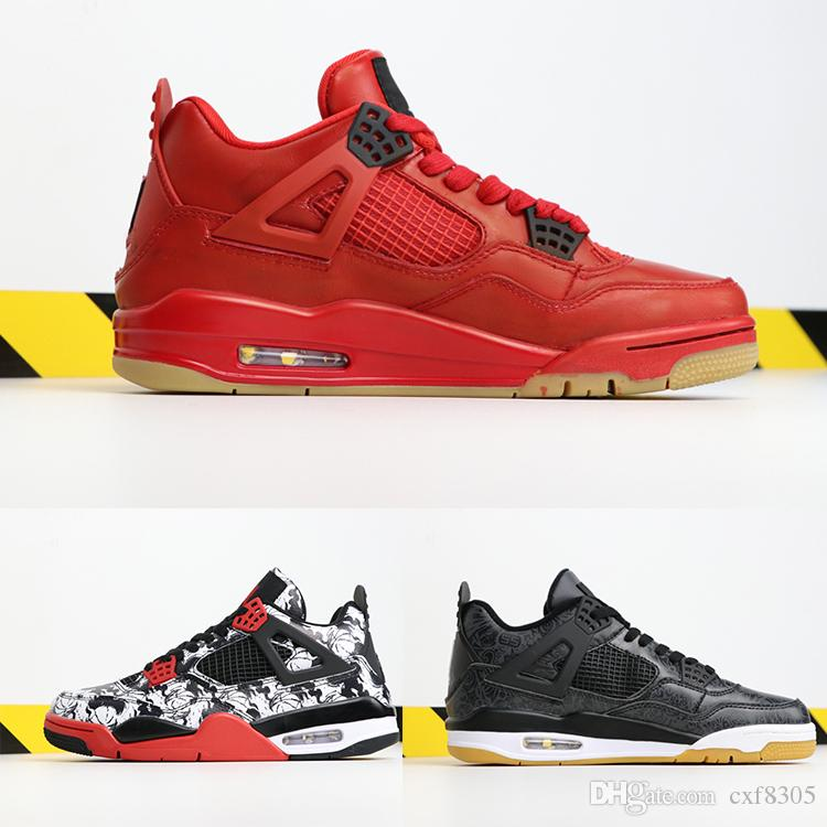 9979ee10f7d4 Singles Day 4 Basketball Shoes Mens Black Gum Sports Designer Shoes Tattoo Gym  Red Chicago Midnight Navy Luxury 4s Running Athletic Sneakers Carmelo  Anthony ...