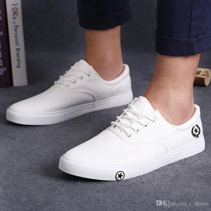 41f2b27342a9 Fashion Men Flat Shoes Spring Autumn Black White Man Casual Lace Up Canvas  Shoes Daily Wear Zapatos Size 25.5 28cm  378595 Dress Shoes Wedge Shoes  From ...