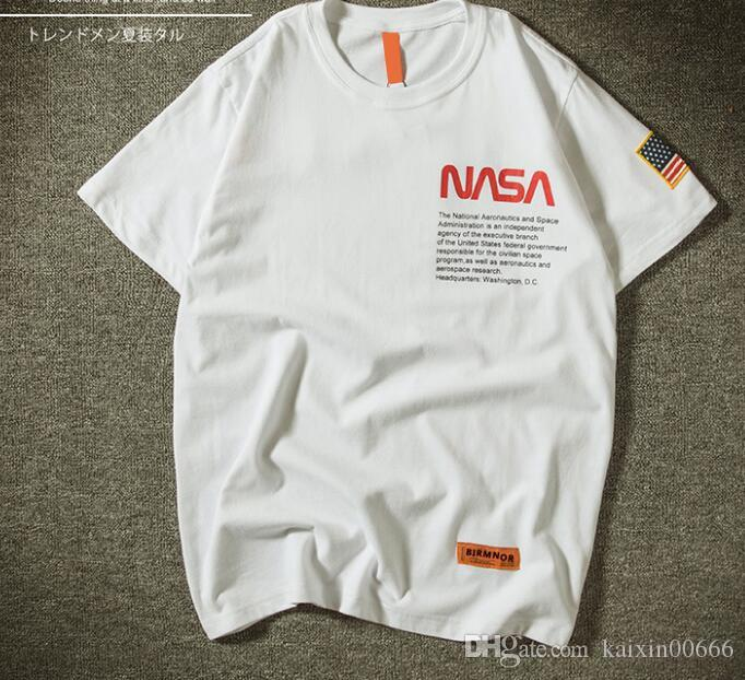 Men's Polos> Product detail . Summer New York Fashion High Quality Nasa USA Flag Tees Tops hip hop street T-shirt