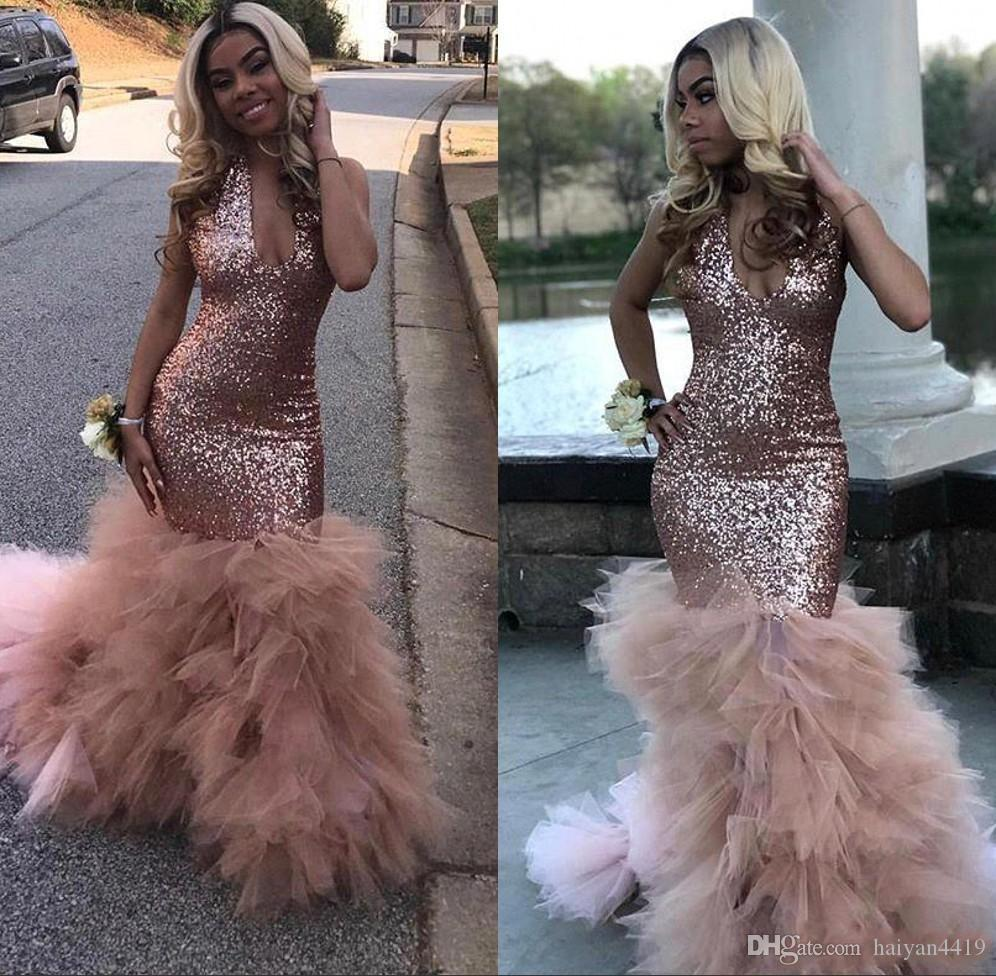 f0350fe6f6 2019 Sparkly Sequined Mermaid Prom Dresses V Neck Sleeveless Tulle Ruffles  Backless Floor Length Black Girl Celebrity Party Evening Gowns