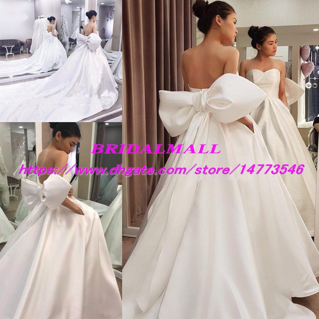 Robe De Mariee 2019 Simple Boho Wedding Dresses With Big Bow Strapless Satin Ball Gown Beach Bridal Gowns Plus Size Vestidos De Novia